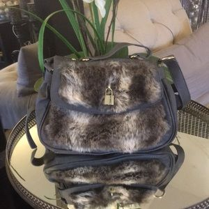 ASOS faux fur bag gray with long strap